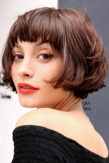 Short Layered Hairtyles with Bangs, Hair Bob Bangs Makeup