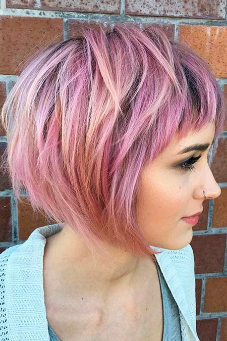 Purple Layered Bob Choppy