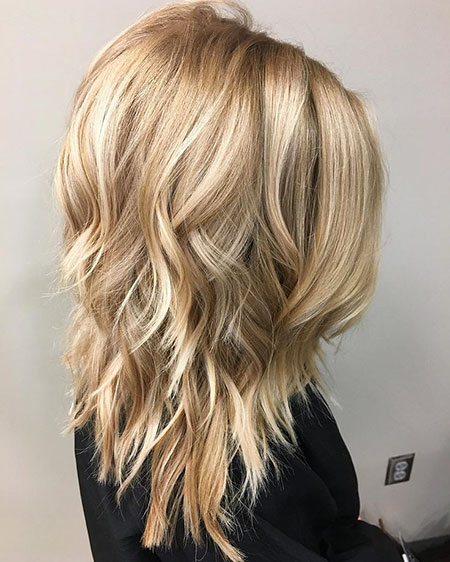 Blonde Medium Lob Layered