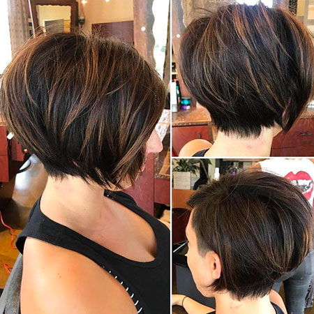 Brown Bob Hairtyle, Brown Bob Balayage Short