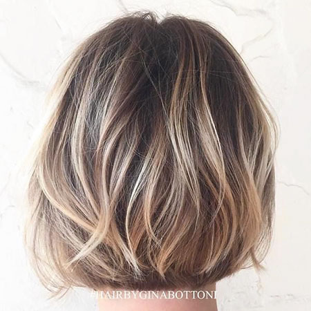 Balayage Brown Bob Layers