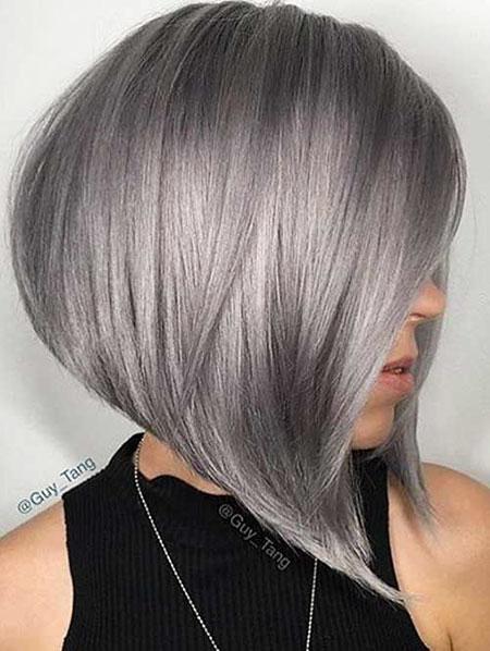Grey Bob Hairtyle, Hair Gray Color Silver