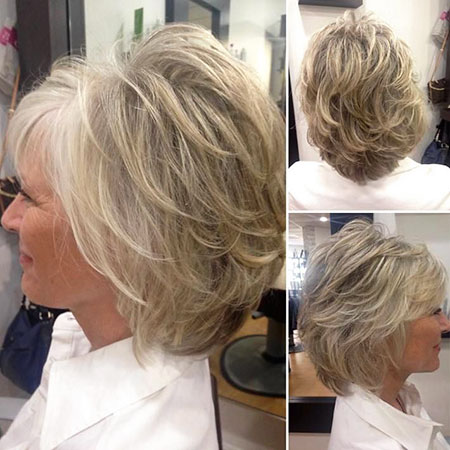 Hairtyles for Older Women, Layered Short Bob Women