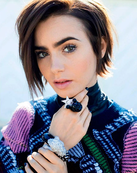 Brunette Hair Color, Lily Short Hair Winter