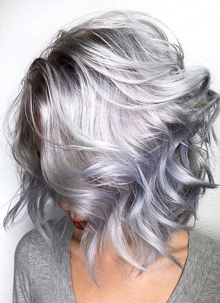 New Gray Hair Color 2018, Hair Color Silver Layered