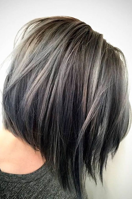 Hair Gray Layered Grey