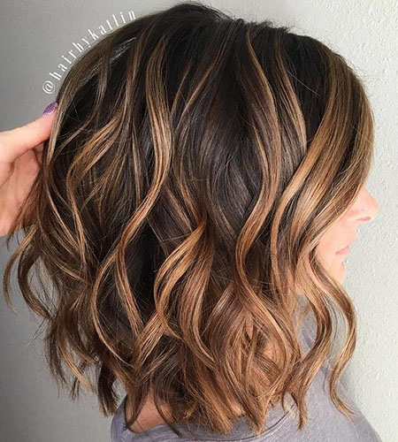 Brown Wavy Lob Caramel