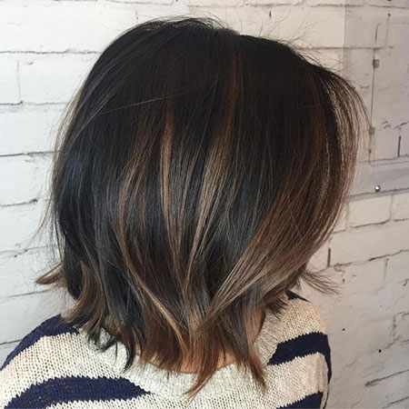 Brown Black Choppy Balayage