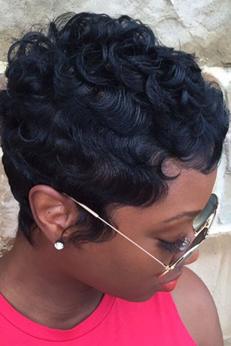 Short Curly Pixie Black