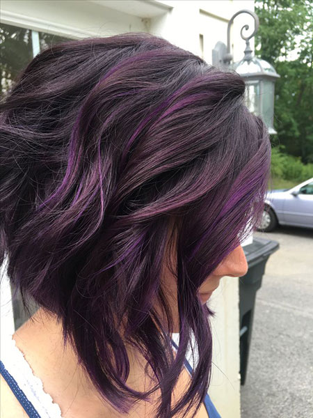 Purple Balayage Hair Short