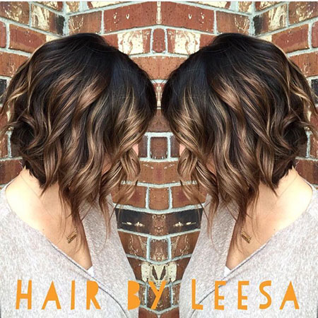 Bob Hairtyle, Balayage Highlights Hair Caramel