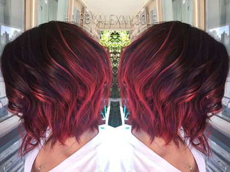 Choppy Hair, Balayage Burgundy Hair Short