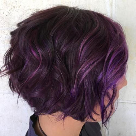 Purple Highlights, Purple Highlights Hair Balayage