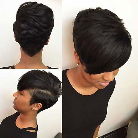Relaxed Hair, Short Black Women Hair