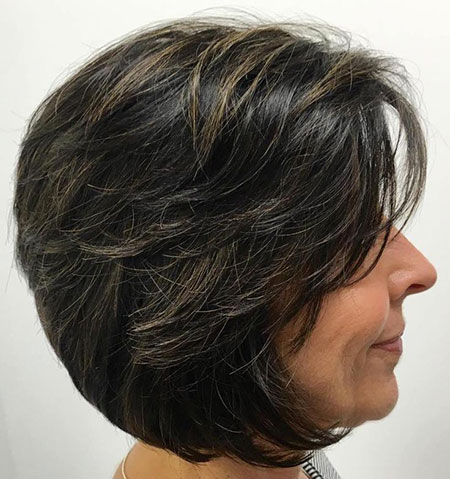 Bob Layered Brunette Over