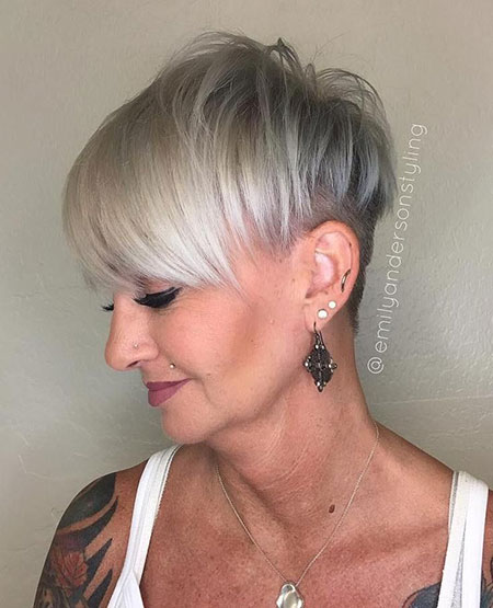 Pixie Undercut Short Gray