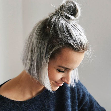 Short Grey Hairtyle, Blonde Balayage Short Nape