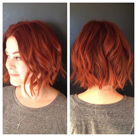 Short Red Hairtyle, Hair Bob Red Messy