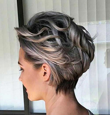 Short Choppy Pixie Grey