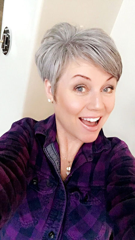 Short Hair Grey Pixie