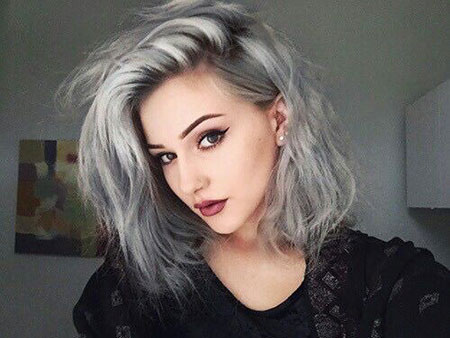Shoulder Length Silver Bob, Hair Short Grey Silver