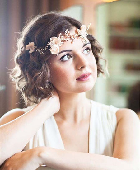 Short Hair Wedding Hairtyle, Wedding Short Bridal Crown
