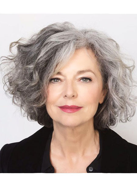 Hair Grey Short Curly