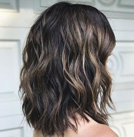 Brunette Hair Style, Wavy Length Thick Choppy