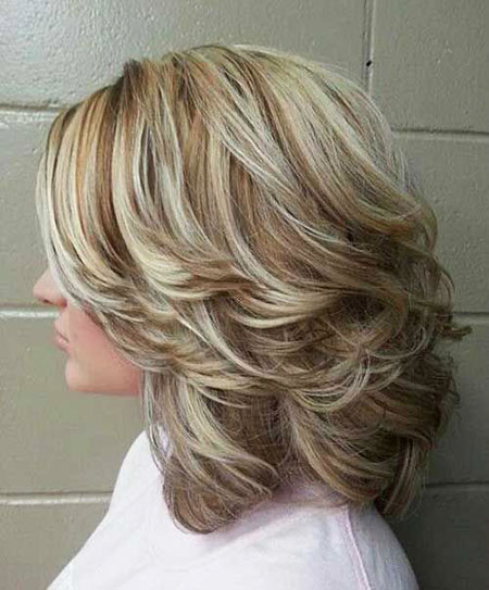 Thick Blonde Lob, Hair Layered Length Blonde