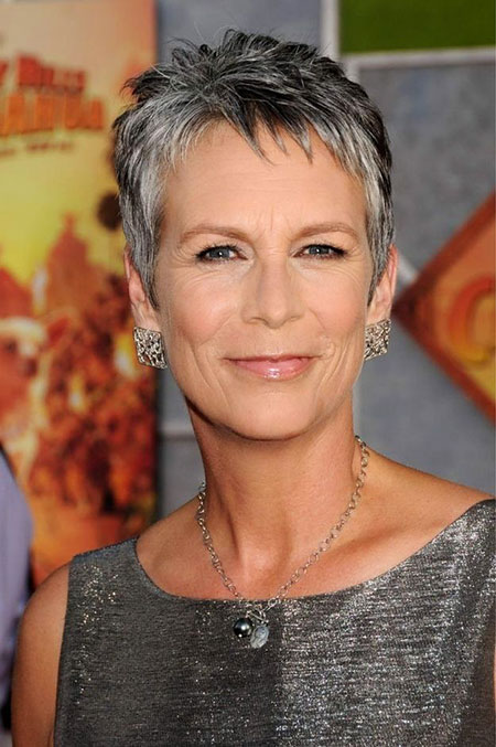 Natural Grey Pixie, Short Hair Lee Curtis