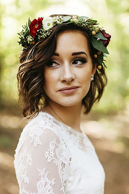Cute Wedding Hairtyle, Wedding Flower Hair Crown