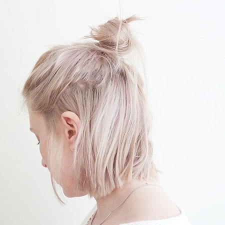 Blonde Bob Short Bun
