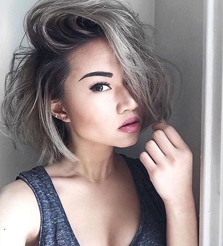 Short Silver Hairtyle, Grey Haircuts Silver Balayage