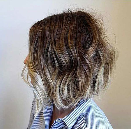 Balayage Choppy Brown Bob