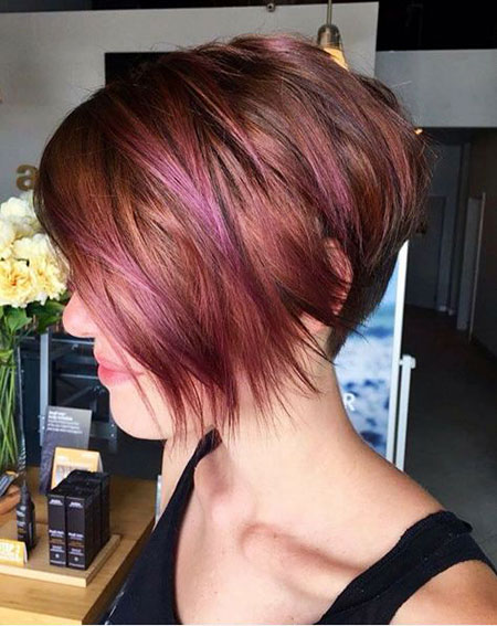 Layered Bob, Bob Hair Red Pink