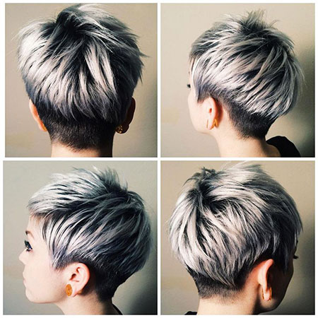 Grey Highlights Pixie Hair, Gray Pixie Short Stacked