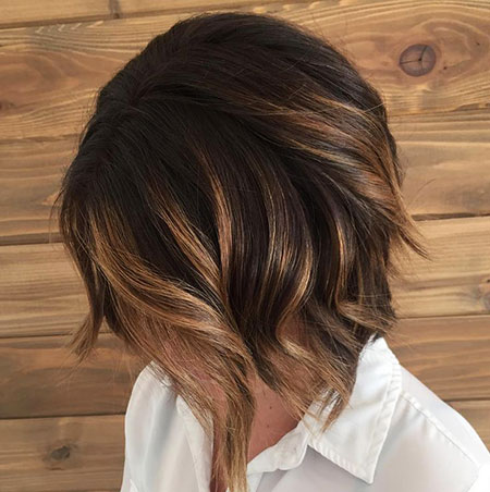 Balayage Bob Layered Brown