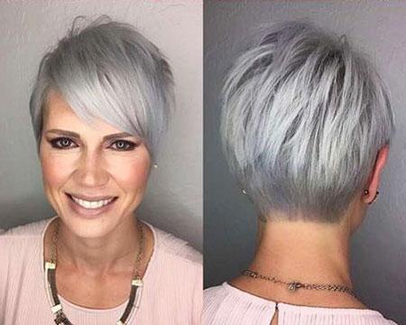 Gray Short Shaggy Hairtyle