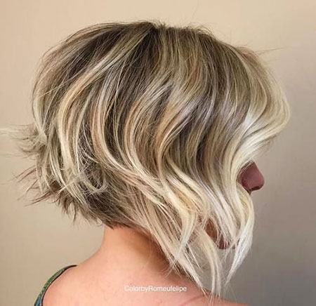 Blonde Balayage, Layered Bob Blonde Brown