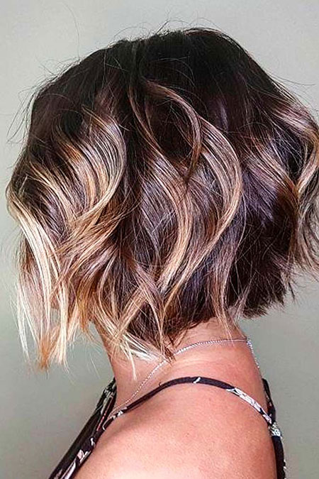 Wavy Hair with Balayage, Bob Trendy Black Hair