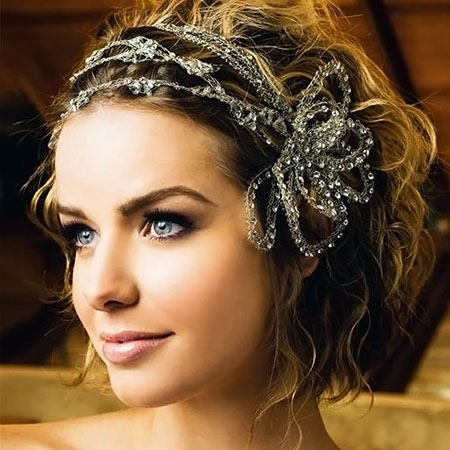 Bridal Curls, Wedding Bridal Hair Headband