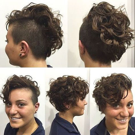 Short Side Pixie, Hair Curly Short Undercut