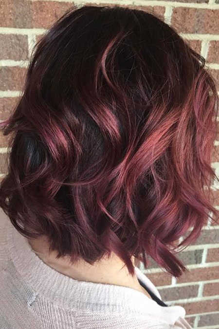Hair Thick Balayage Burgundy