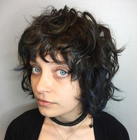 Curly Hair Wavy Bangs