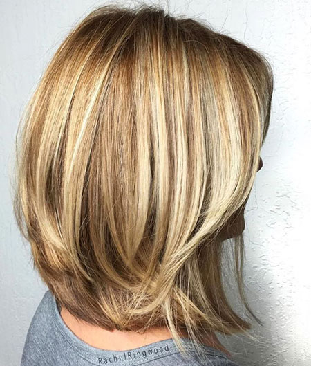 Short Blonde Hairtyle for Thick Hair, Blonde Bob Thick Balayage