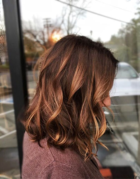 Auburn Hair Color for Short Hair, Balayage Lob Warm Hairtyles