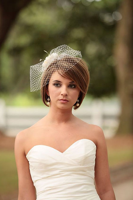 Wedding Hairtyle for Short Hair Bob, Veil Bridal Birdcage Hair