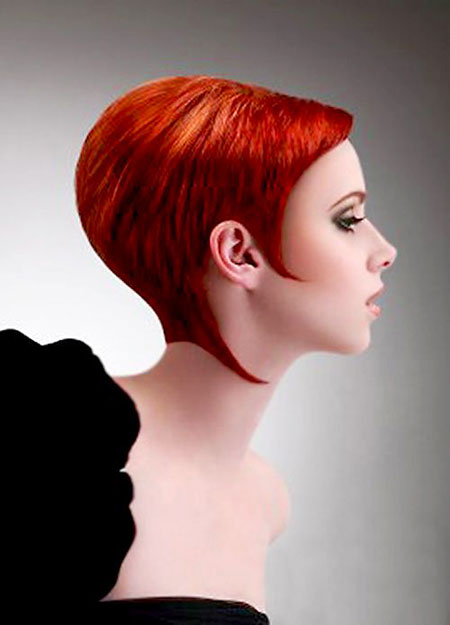 Hair Short Red Color