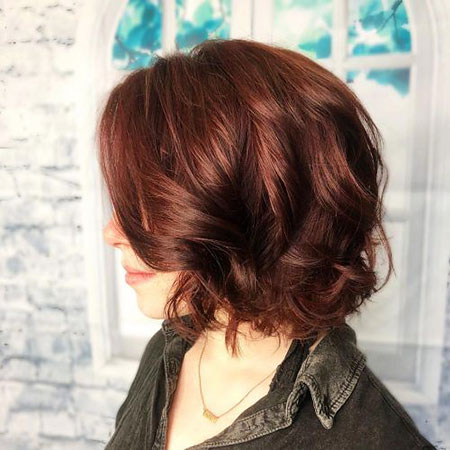 Choppy Color Auburn Bob