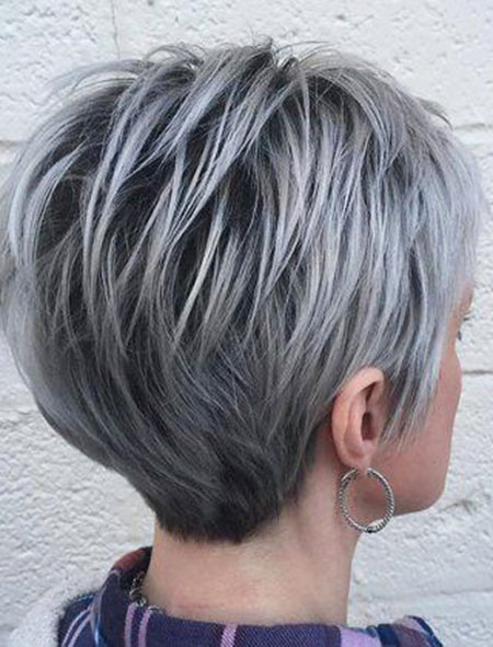 Grey Colored Pixie, Pixie Layered Gray Edgy
